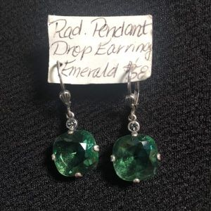 Emerald Pendant Drop Earrings with silver clasps